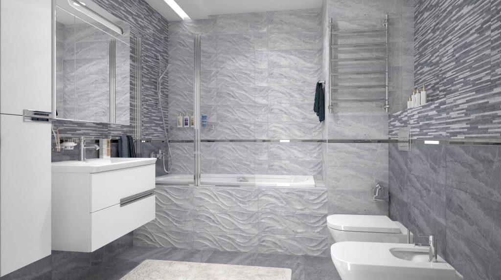 мраморная ванная комната в сером цвете