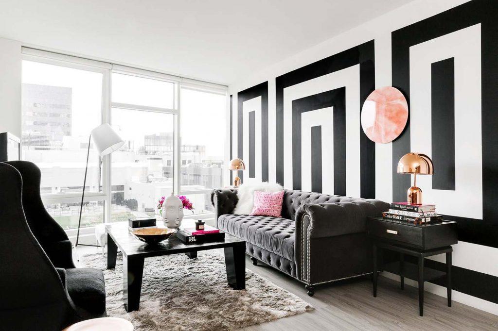 черно-белая гостинная
