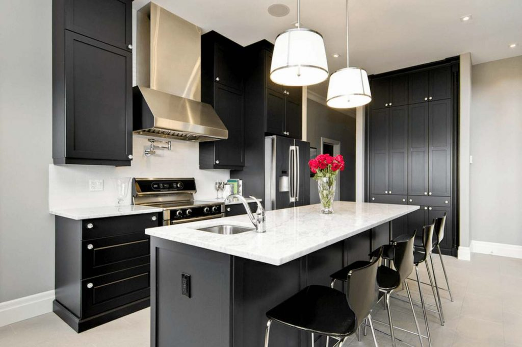 дизайн кухни в черно белом цвете