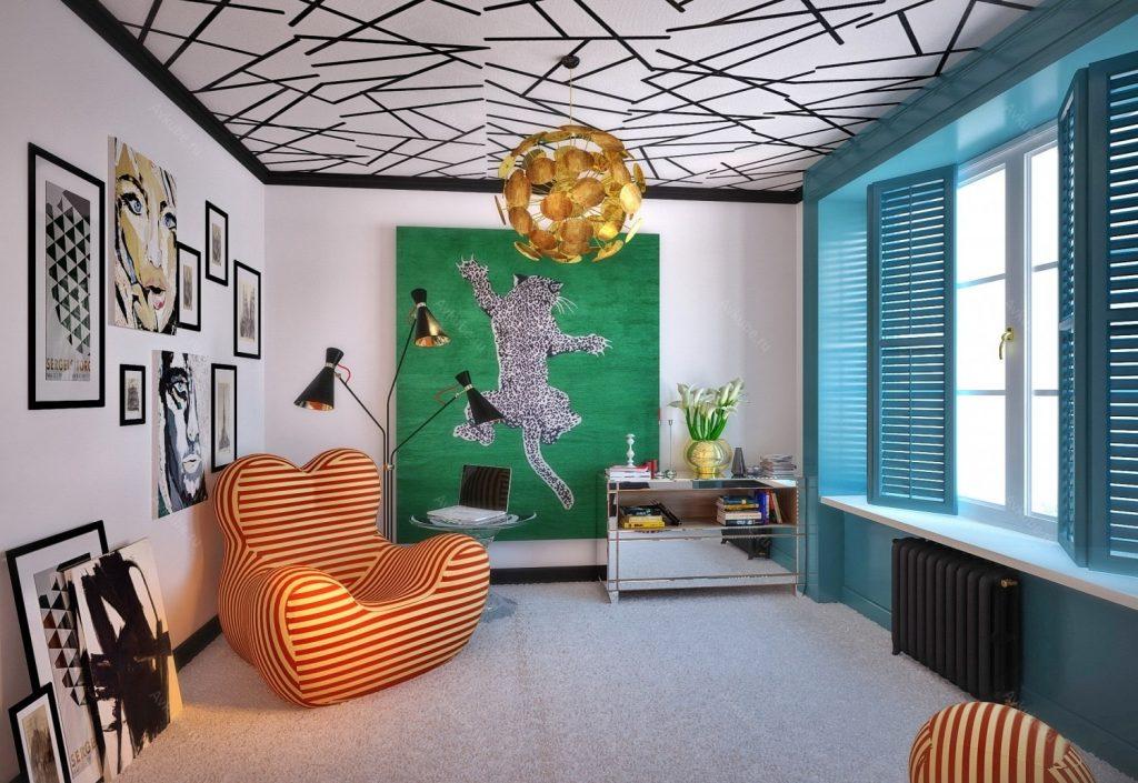 Dizajn gostinoj v stile pop art 17 kv m41