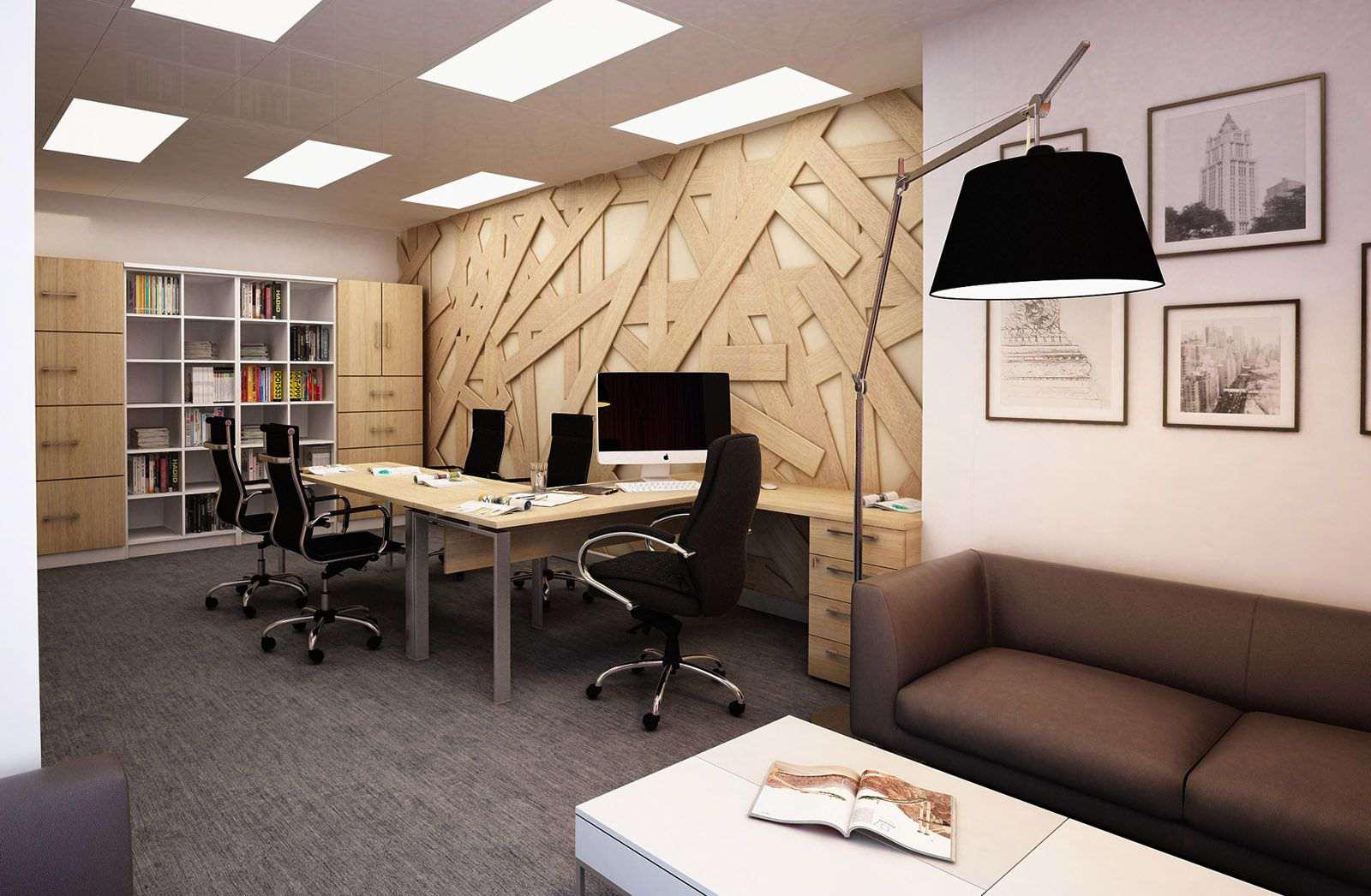 Интерьер офисного кабинета со стойками для посетителей в отдела кадров