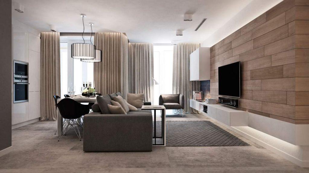 дизайн кухни гостиной минимализм