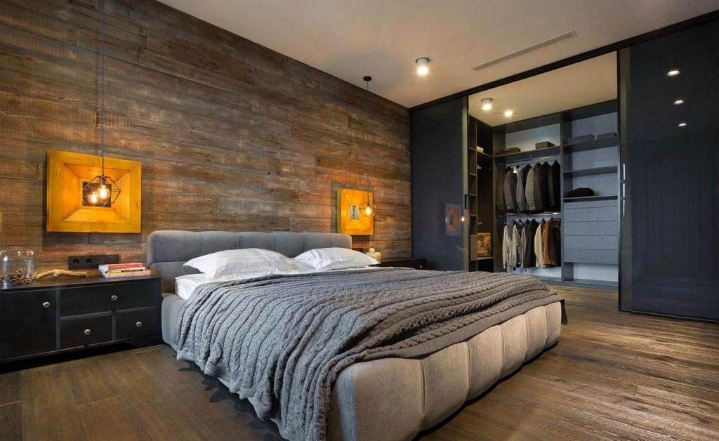 Большая спальня в стиле лофт