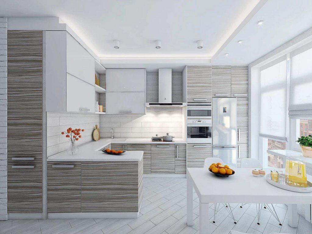 Современный стиль кухни в светлых тонах