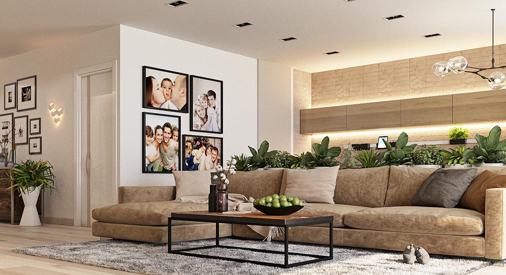 современный дизайн проект гостиной