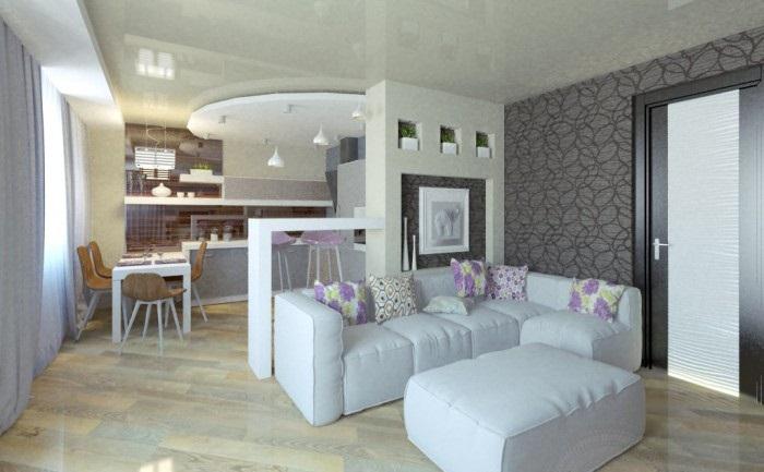 дизайн проект кухни гостиной 20 кв м